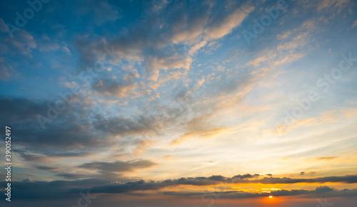 Fototapeta Sunset sky for background or sunrise sky and cloud at morning. obraz