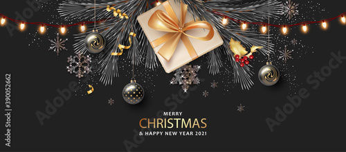 Obraz Merry Christmas and Happy New Year realistic banner - fototapety do salonu