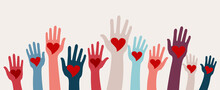 Arms Raised Group Of Children Men And Women With Heart In Hand. Charity Donation And Volunteer Work. Support And Assistance. Multicultural And Multiethnic Communities. People Diversity
