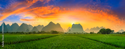 Obraz na plátne Green rice field and mountain natural scenery in Guilin,China.