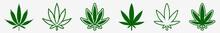 Cannabis Leaf Icon Set Green |...