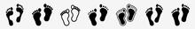 Human Footprints Icon Set | Human Footprint Vector Illustration Logo | Human Footprints Icons Isolated Collection