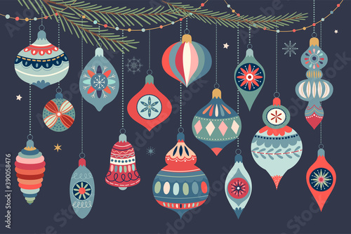 Obraz Christmas ornaments collection with decorative Christmas balls, winter design - fototapety do salonu