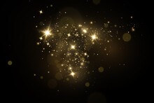 Christmas Light Effect. Sparkling Magical Dust Particles.The Dust Sparks And Golden Stars Shine With Special Light.