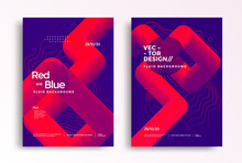 Pipelines Abstract Poster Design Template In Duotone Gradients. Cover Design With Red And Blue Fluid Color Shapes Composition.