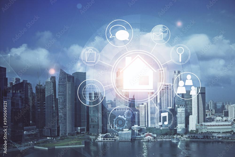 Fototapeta Double exposure of buildings hologram over cityscape background. Concept of smart city.