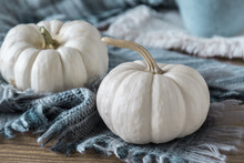 Two White Mini Pumpkins With A...