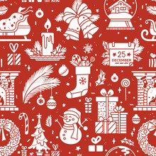Christmas Chalk Silhouettes On Red Background Seamless Pattern. Duotone Vector Texture. Christmas Tree And Gifts, Fireplace,  Snowman And Wreath, Snow Globe, Santa Sleigh. Wrapping Paper Design