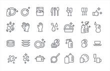 Washing Dishes Icons Thin Flat Vector Set