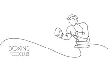 Single Continuous Line Drawing Of Young Agile Man Boxer Focus For Sparring With Partner. Fair Combative Sport Concept. Trendy One Line Draw Design Vector Illustration For Boxing Game Promotion Media