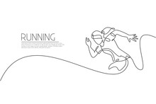 Single Continuous Line Drawing Of Young Agile Woman Runner Sprint Run At Track. Individual Sport, Competition Concept. Trendy One Line Draw Design Vector Illustration For Running Tournament Promotion