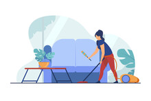 Housewife Cleaning Home With Vacuum Cleaner. Sofa, House, Room Flat Vector Illustration. Household And Housekeeping Concept For Banner, Website Design Or Landing Web Page
