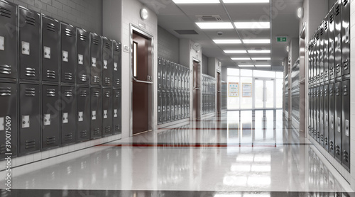 Stampa su Tela Long school corridor with black lockers , 3d illustration