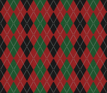 Knitted Argyle Christmas And New Year Pattern. Wool Knitinng. Scottish Plaid In Red, Black And Green Rhombuses. Traditional  Background Of Diamonds. Seamless Fabric Texture. Vector Illustration