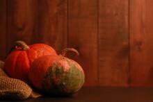 Two Pumpkins, Burlap Sackcloth...