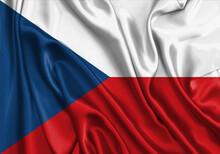 Czech Republic , National Flag On Fabric Texture. International Relationship.