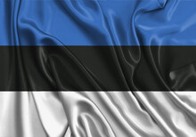 Estonia , National Flag On Fabric Texture. International Relationship.