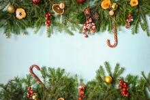 Christmas Frame With Fir And C...