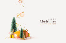 Christmas And New Year Background. Xmas Pine Fir Lush Tree. Gold And Silver Christmas Trees. Snowflakes Fall With Bauble Balls And Confetti. Gift Box And Snow. Bright Winter Holiday Composition.