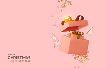 New Year And Christmas Design. Realistic Pink Gifts Boxes. Open Gift Box Full Of Decorative Festive Object. Holiday Banner, Web Poster, Flyer, Stylish Brochure, Greeting Card, Cover. Xmas Background