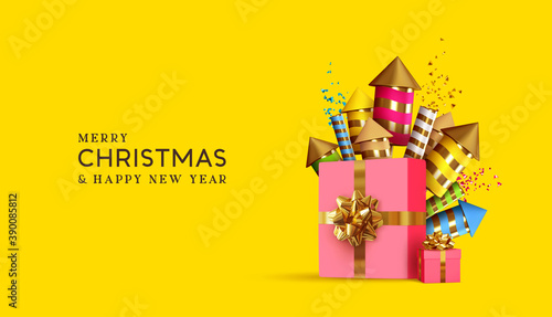 Christmas and New Year background with realistic gifts box and fireworks. Xmas holiday 3d objects. Festive gift card, banner, poster. vector illustration