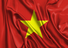 Vietnam , National Flag On Fab...