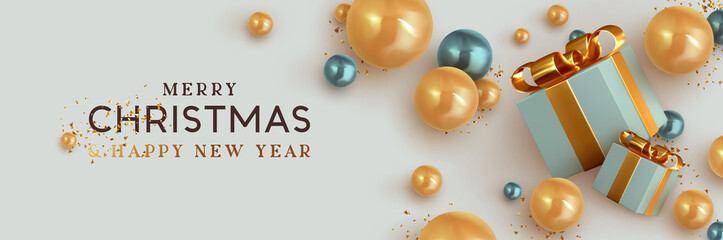 Obraz na płótnie Canvas Christmas banner. Background Xmas design of realistic blue gift box, 3d render blue and golden bauble ball and glitter gold confetti. Horizontal christmas poster, greeting card, headers for website