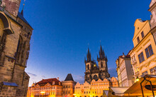 Prague Old Town Square (Stare Mesto) Historical City Centre With Astronomical Clock (Orloj) Of City Hall, Stone Bell House, Gothic Church Of Our Lady Before Tyn, Evening View, Bohemia, Czech Republic