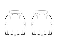 Skirt Bell Technical Fashion Illustration With Pegged Above-the-knee Silhouette, Pencil Fullness, Thick Waistband. Flat Bottom Template Front, Back, White Color Style. Women, Men, Unisex CAD Mockup