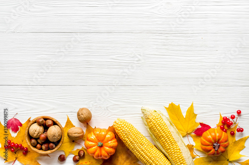 Fotografiet Autumn top view background with pumpkins corn and nuts