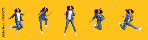 Foto Collage of jumping black woman on yellow studio background