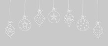 Concept Of Hanging Christmas Baubles. Xmas Decoration. Vector