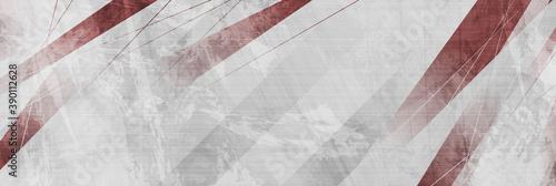 Fototapeta Red and grey grunge stripes abstract banner design. Geometric tech background. Vector illustration obraz
