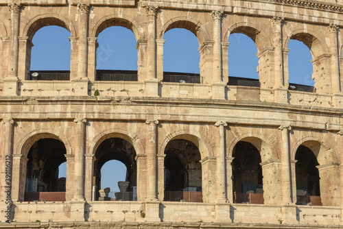 Detail of the roman Colossum in Roma, Italy Fotobehang