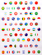 Collection of circle sign of national flags different countries