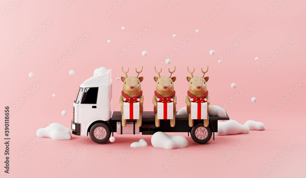 Fototapeta Truck delivery service with reindeer and Happy Gift Box 3d render concept.