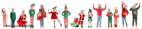 Fotografía Happy little children with Christmas gifts on white background