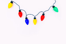 Colorful Festive Lights On Whi...