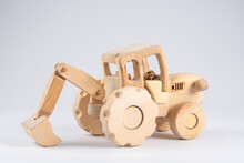 Wooden Kids Tractor Toy With T...