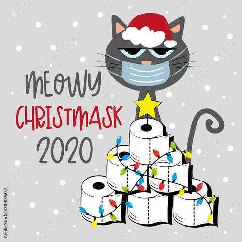 Meowy Christmask 2020 - Cat in face mask and Toilet paper Christmas tree. Funny greeting card for Christmas in covid-19 pandemic self isolated period.