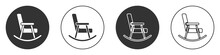 Black Rocking Chair Icon Isolated On White Background. Circle Button. Vector.