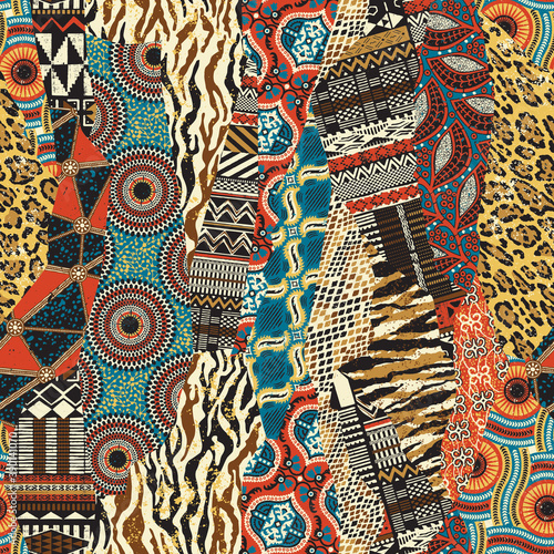 Tapety kolonialne  afryka-afrykanski-skora-futro-wzor-lampart-waz-zebra-etniczne-plemienne-tradycyjne-sawanna-safari-dzungla-wektor-bezszwowe-tapeta-tlo-tkanina-tekstylia-tekstura-zyrafa-zwierze-na