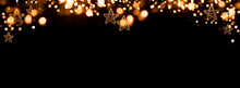 Christmas Garland With Bokeh Festive Golden Christmas Garland With Glowing Bokeh Against Black Background For Decorations And Space For Your Text.