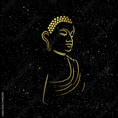 Slika na platnu Golden buddha head with golden border element