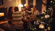 Leinwandbild Motiv European family toasting wine at Christmas dinner