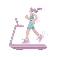 Girl Running On Treadmill Isolated. Flat Style Illustration.