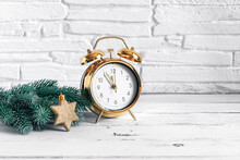 Gold Alarm Clock, Green Spruce...
