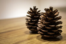 Two Pine Cones Standing Upright On The Wooden Table.
