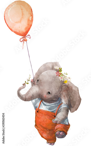cute cartoon little elephant character with balloon