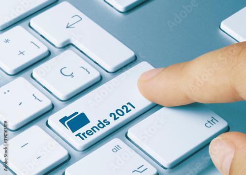 Trends 2021 - Inscription on Blue Keyboard Key.